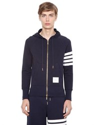 Thom Browne Intarsia Stripe Hooded Cotton Sweatshirt