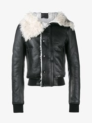 Rick Owens Glitter Lambskin And Shearling Jacket Black White