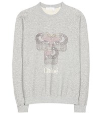 Chloe Printed Cotton Sweatshirt Grey
