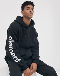 Element Primo Big Hoodie With Sleeve Print In Black