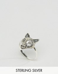Asos Sterling Silver Fox Ring Burnished Silver