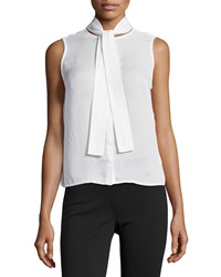J Brand Ready To Wear May Tie Neck Sleeveless Blouse White