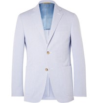 Canali Blue Kei Slim Fit Striped Cotton Seersucker Blazer Blue