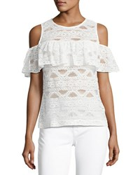 Laundry By Shelli Segal Cold Shoulder Lace Top White