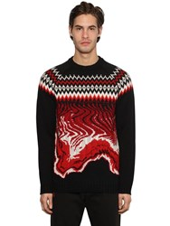 Msgm Crewneck Wool Jacquard Knit Sweater Black