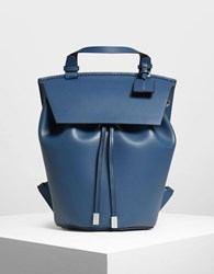 Charles And Keith Classic Drawstring Backpack Blue