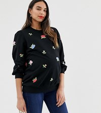 Asos Design Maternity Sweatshirt With Floral Embroidery Black