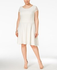 Trixxi Plus Size Short Sleeve A Line Skater Dress Ivory