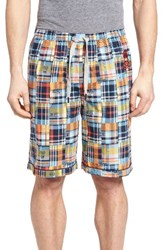 Psycho Bunny Men's Cotton Lounge Shorts Madras Plaid