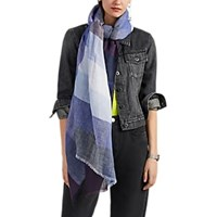 Denis Colomb Sahara Checked Slub Linen Gauze Scarf Multi