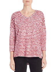 Lord And Taylor Striped Knit Dolman Tee Red