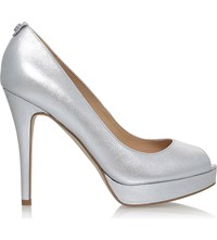 Michael Michael Kors York Peep Toe Leather Courts Silver