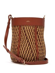 A.P.C. Garance Woven Leather Cross Body Bag Brown