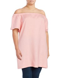 Chelsea And Theodore Plus Off The Shoulder Flutter Sleeved Top Pink