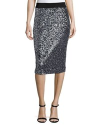 Milly Sequined Pencil Midi Skirt Black