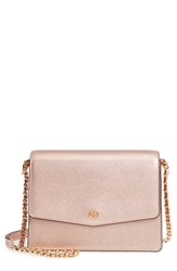 Tory Burch Robinson Convertible Metallic Leather Shoulder Bag Pink Light Rose Gold