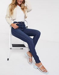 Pieces Laura High Waisted Skinny Jeans Blue