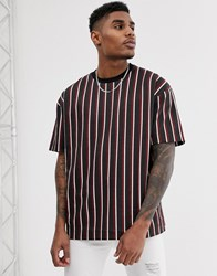 Good For Nothing Oversized T Shirt In Red And Black Stripes With Back Print