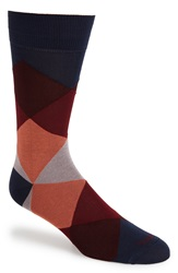 Etiquette Clothiers 'Harlequin' Diamond Socks Blue Moon