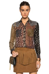 Saint Laurent Patchwork Silk Blouse In Floral Black Brown Animal Print