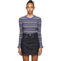 Opening Ceremony Blue And Multicolor Striped Sweater