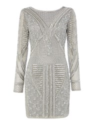 Lace And Beads Embellished Mini Bodycon Dress Light Grey