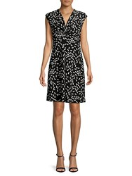 Jones New York Printed Twisted Front Dress Black