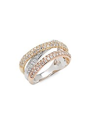 Effy Diamond 14K White Yellow And Rose Gold Ring No Color