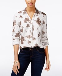 Charter Club Linen Metallic Floral Print Shirt Only At Macy's Bright White