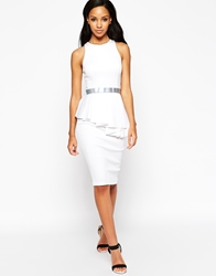 Asos Premium Scuba Waterfall Peplum With Belt Ivory