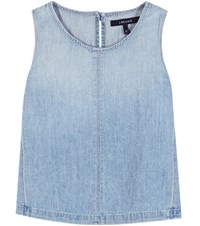 J Brand Tayla Cotton And Linen Denim Top Blue