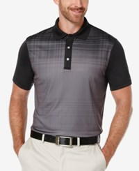 Pga Tour Men's Fading Plaid Colorblocked Polo Shirt Caviar
