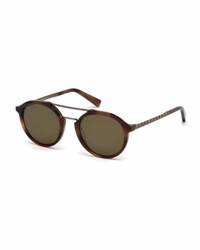 Ermenegildo Zegna Acetate And Titanium Double Bar Round Sunglasses Havana