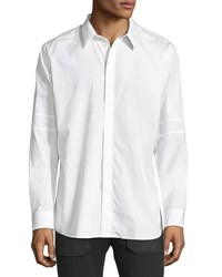 Givenchy Long Sleeve Sport Shirt With Tonal Star And Armband White