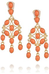 Kenneth Jay Lane Gold Tone Stone Earrings Coral