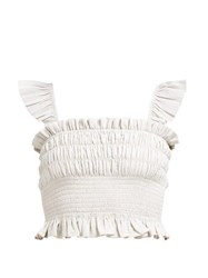 Loup Charmant Ruffled Cotton Cropped Top Beige