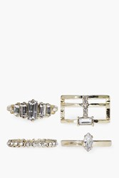 Boohoo Diamante Geometric Mixed Ring Pack Gold