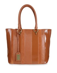 Badgley Mischka Natalie Leather And Calf Hair Tote Cognac