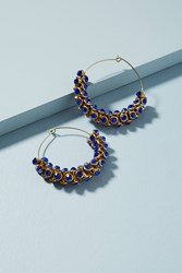 Anthropologie Sparkle Cuff Hoop Earrings Navy
