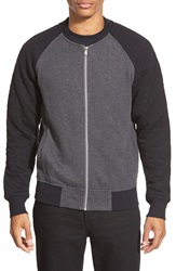 Howe 'White Lie' Knit Baseball Jacket With Quilted Sleeves Charcoal Black
