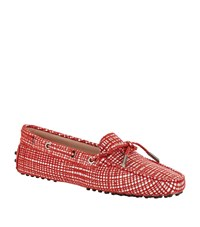 Tod's Laced Gommino Suede Driving Shoe Female Red