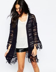 Brave Soul Long Line Cardigan With Tassel Detail Navy