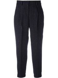 Incotex Gold Tone Pinstripe Trousers Blue