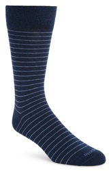 Etiquette Clothiers 'Needle Stripe' Socks Blue Marine