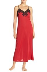 Women's Natori 'Enchant' Lace Applique Knit Nightgown Red