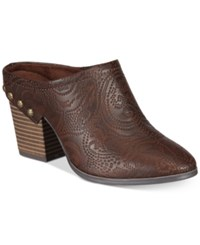 Easy Street Shoes Shiloh Mules Brown Embossed