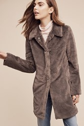 Anthropologie Essia Faux Fur Coat Grey