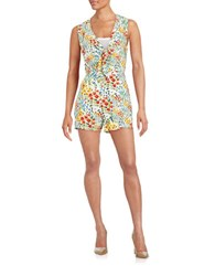 Design Lab Lord And Taylor Floral Tie Front Romper Green Floral