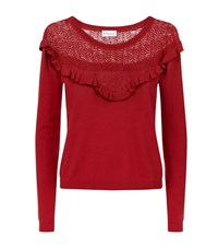 Claudie Pierlot Melodie Lace Yoke Jumper Female Red