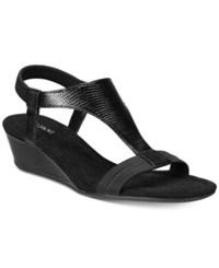 Alfani Women's Vacanzaa Wedge T Strap Sandals Only At Macy's Women's Shoes Black